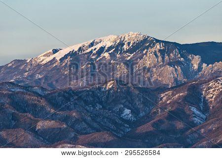 Buila-vanturarita Mountain Seen From Cozia Mountain  During Winter