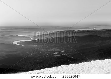 Olt River Panoramic View From Cozia Mountain Black And White