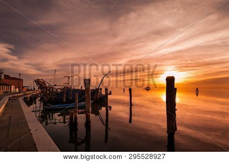 Island Of Pellestrina,venice,italy. Romantic Sunset On Lagoon .