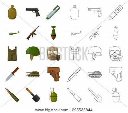 Army And Armament Cartoon, Outline Icons In Set Collection For Design. Weapons And Equipment Vector