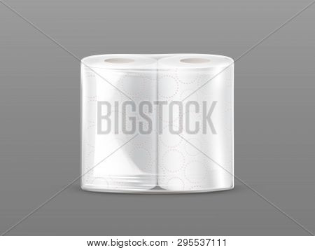 Paper Towel Package Mockup With Transparent Wrapping Isolated On Grey Background. Two-pack White Kit