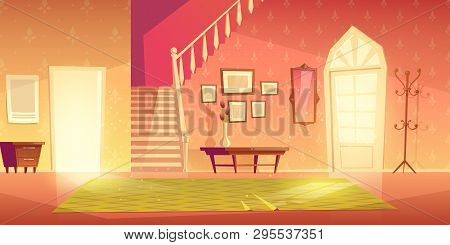 House Hallway Entrance Interior With Stairs And Furniture. Bright Apartment Background With Door, Mi