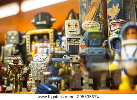 Essex, Uk - 31 August, 2018: Collection Of Robots Toys In The Stansted Toy Museum