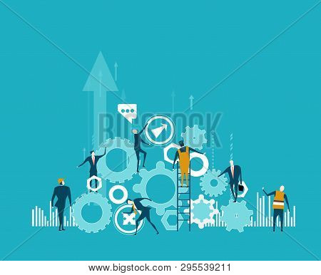 Business And Working People Building The Business Together. Pile Of Gear As Symbol Of Business And B