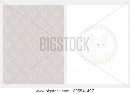 Cute Teddy Bear In Floral Wreath Vector Illustration. Seamless Vector Pattern With Hand Drawn White