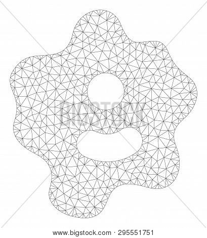 Mesh Ameba Polygonal Icon Illustration. Abstract Mesh Lines And Dots Form Triangular Ameba. Wire Fra