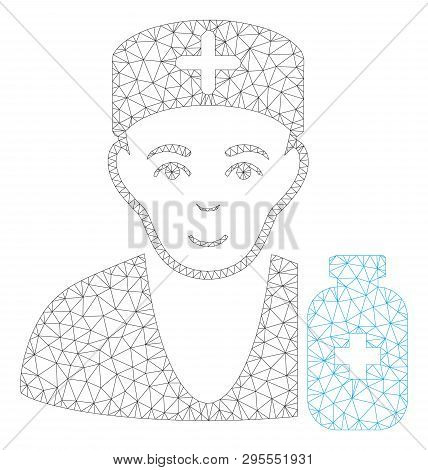 Mesh Apothecary Doctor Polygonal 2d Illustration. Abstract Mesh Lines And Dots Form Triangular Apoth