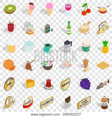 Best Drink Icons Set. Isometric Style Of 36 Best Drink Icons For Web For Any Design