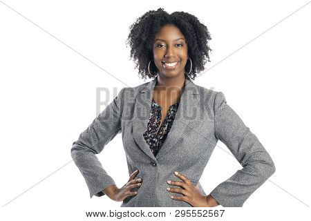 Black African American Female Businesswoman Isolated On A White Background Looking Confident And Suc