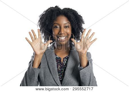 Black African American Female Businesswoman Isolated On A White Background Looking Happy And Success