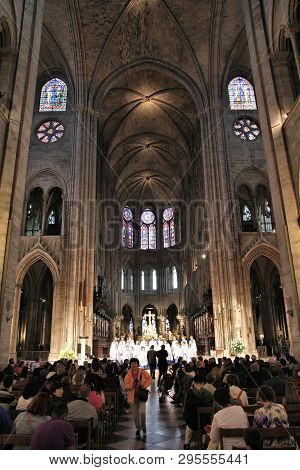 Paris, France - July 21, 2011: People Visit Notre Dame Cathedral In Paris, France. The French Gothic