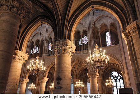 Paris, France - July 21, 2011: Interior Of Notre Dame Cathedral In Paris, France. The French Gothic