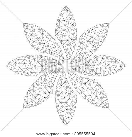 Mesh Abstract Flower Polygonal 2d Illustration. Abstract Mesh Lines And Dots Form Triangular Abstrac