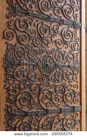 Ironwork At Big Wooden Door Notre Dame Cathedral Paris France