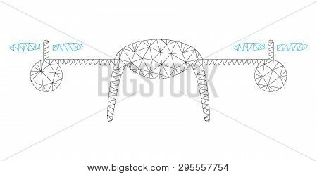 Mesh airdrone polygonal icon illustration. Abstract mesh lines and dots form triangular airdrone. Wire frame 2D polygonal line network in vector format isolated on a white background. poster