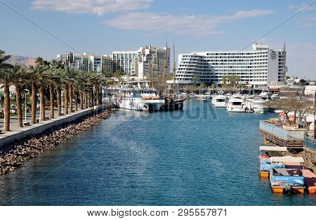 Eilat, Israel - March 03, 2019: View Of Yachts And Boats In The Marina In Eilat