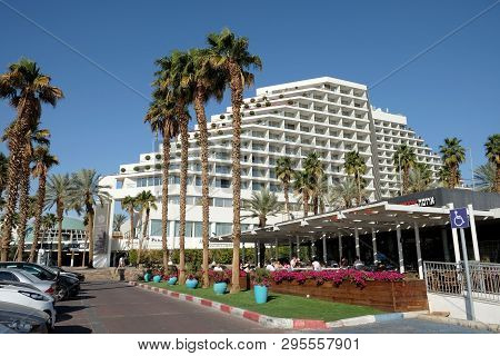 Eilat, Israel - March 03, 2019: View Of The Royal Beach Hotel On The Seafront In Eilat