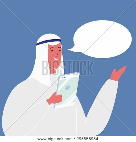 Arab Businessman With Speech Bubble Illustration. Man In Oriental Traditional Clothes. Male Characte