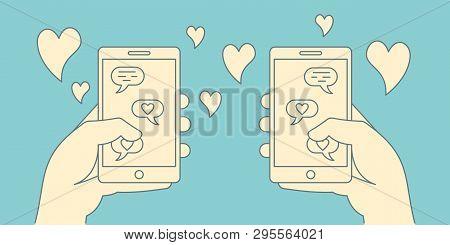 Romance Online Dating Retro Concept. Loving Couple Corresponding In App Of Mobile Phones In Linear S