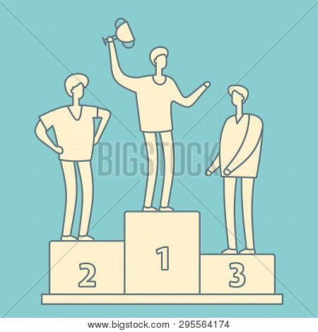 Man With Trophy Cup. Business Competition Winner. Businessman With Winner Cup Standing On Podium Ret