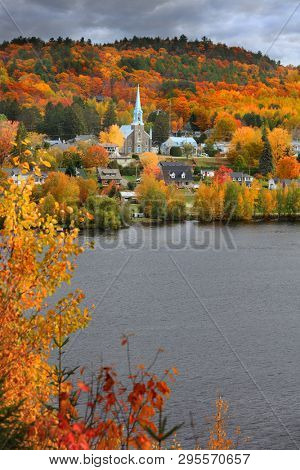 Church in Grandes Piles town ,Quebec, Canada