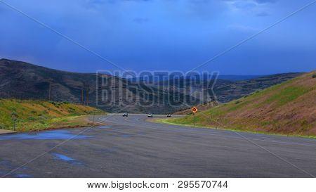 Cloudy drive by Jordanelle reservoir in Utah