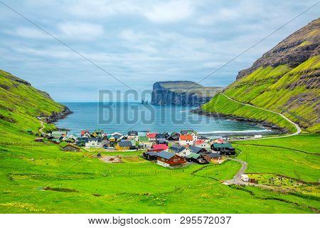 Tjornuvik beautiful town in the Faroe Islands, sit on the north coast of Streymoy, Beautiful Scandinavian Village, Located On The Faroe Islands, Settlement on Faroe Islands, Denmark