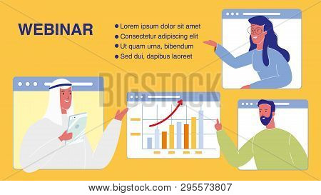 Webinar Vector Web Banner Template With Text Space. International Partnership. Business Analysts. In