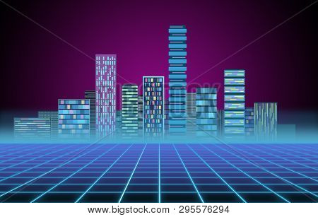 Urban background: futuristic hi-tech city in neon glow. Synthwave, retrowave, abstract metropolis and primitive megalopolis poster