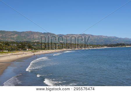 SANTA BARBARA, CALIFORNIA - APRIL 11, 2019: The Santa Barbara Coastline with the Sant Ynez Mountains in the background.
