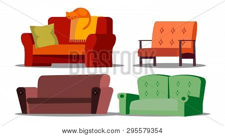 Cozy Sofa, Divan, Cushioned Furniture Vector Set. Cartoon Divan, Couch. Living Room, Office, Store I