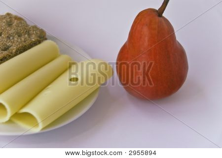 Pear With Slices Of Cheese And Cracker