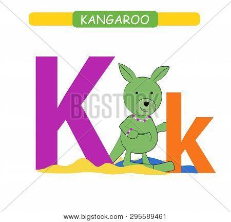 Letter K And Funny Cartoon Kangaroo. Animals Alphabet A-z. Cute Zoo Alphabet In Vector For Kids Lear