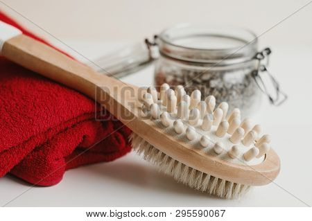 Multipurpose Brush For Body Massage, Red Towel And Scrub. Anticellulite Treatment. Spa And Body Care