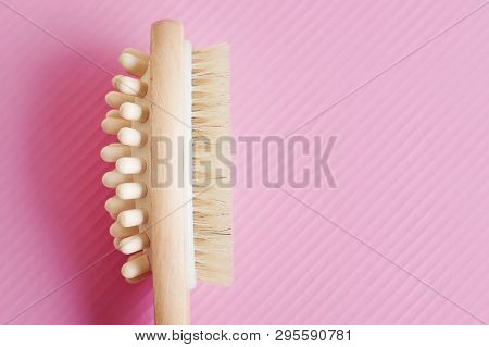Multipurpose Wooden Brush For Body Massage And Skin Exfoliating And Peeling. Anticellulite Treatment