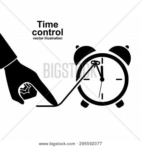 Time Control Icon Pictogram. Deadline Concept. Stop Clock. Vector Illustration Flat Design. Isolated