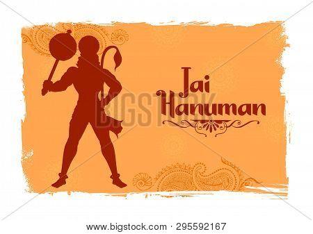 Lord Hanuman On Abstract Background For Hanuman Jayanti Festival Of India