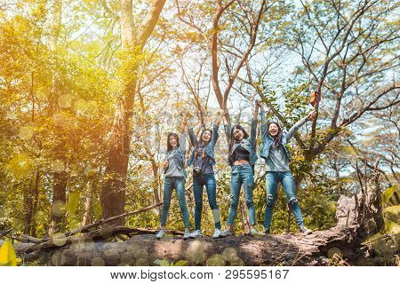 Group Of Asian Women Desination Finish Enjoy And Happy Travel Trekking In Vacation Time For Go To Ca