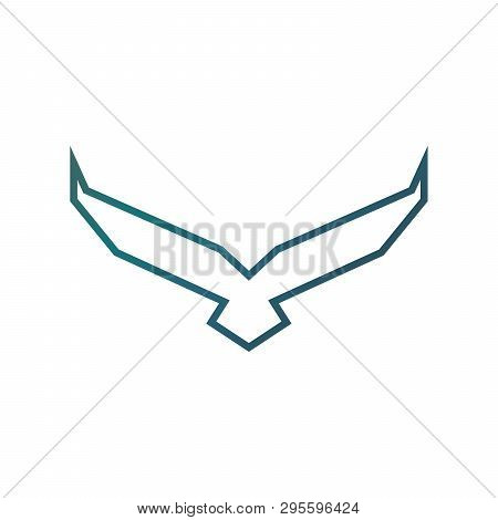 Falcon Soaring Rising Wings. Luxury Corporate Heraldic Flying Eagle Phoenix Hawk Bird.