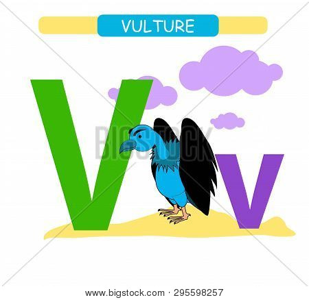 Letter V And Funny Cartoon Vulture. Animals Alphabet A-z. Cute Zoo Alphabet In Vector For Kids Learn