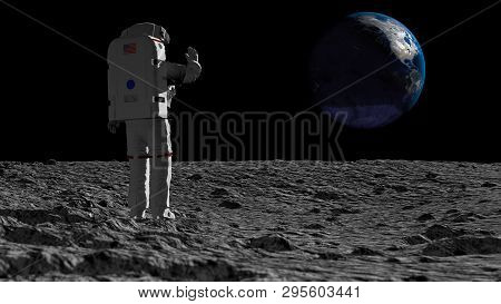 3d Rendering. Astronaut Walking On The Moon And Admiring The Beautiful Earth. Elements Of This Image