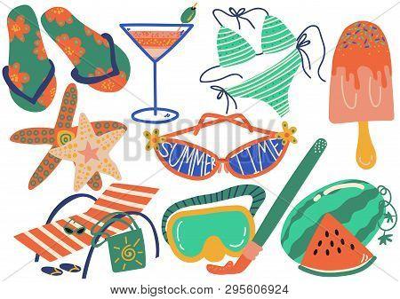 Summer Holiday Symbols Set, Flip Flops, Bikini, Cocktail, Sunglasses, Popsicle, Chaise Longue, Starf