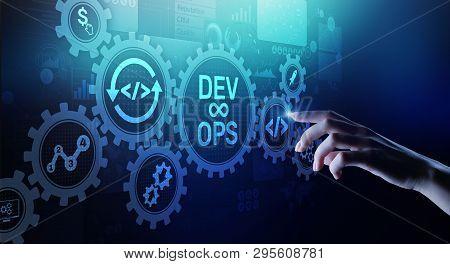 Devops Agile Development Concept On Virtual Screen.