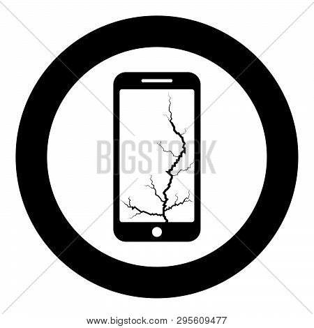 Smartphone With Crack On Display Broken Modern Mobile Phone Shattered Smartphone Screen Phone With B