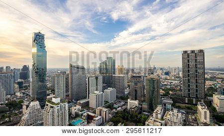 Bangkok City - Aerial View  Bangkok City Urban Downtown Skyline Tower Of Thailand On Blue Sky Backgr