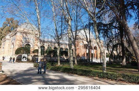 Madrid, Spain - January 27, 2018: Velazquez Palace (palacio De Velazquez ) In Buen Retiro Park (parq