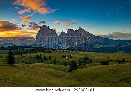 Sunrise In Beautiful Landscape Of Alpe Di Siusi - Seiser Alm In Dolomite, Italy.
