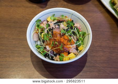Japanese Cuisine -chirashi Sushi : Fresh Mixed Seafood Over Rice