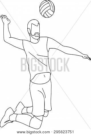 Set Of Six Vector Cartoon Character Of Sportsman Playing Volleyball, Basketball, Football. Isolated