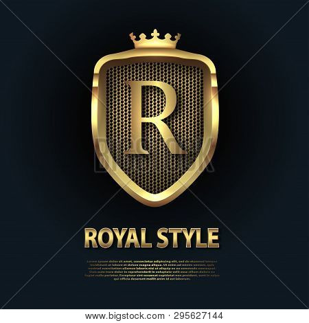 Letter R On The Shield With Crown Isolated On Dark Background. Golden 3d Initial Logo Business Vecto